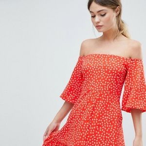 ASOS off shoulder red / yellow dress